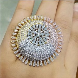 Jewelry - GORGEOUS 3D Tri-Gold CZ Pave' & Baguette Huge Ring